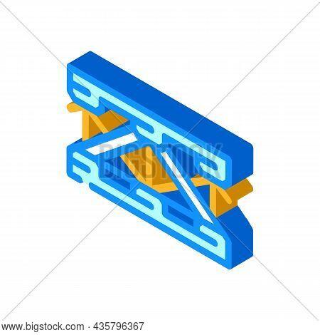 Bridge Metal Material Frame Isometric Icon Vector. Bridge Metal Material Frame Sign. Isolated Symbol