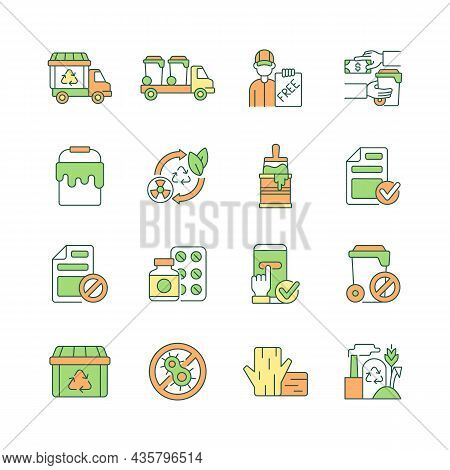 Waste Management Rgb Color Icons Set. Garbage Processing And Disposal. Recycling Of Waste Materials.