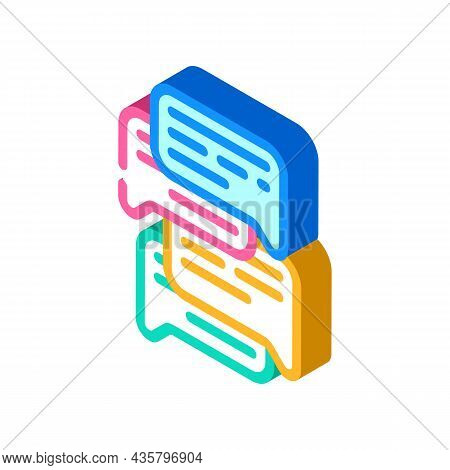 Talk And Discuss Isometric Icon Vector. Talk And Discuss Sign. Isolated Symbol Illustration