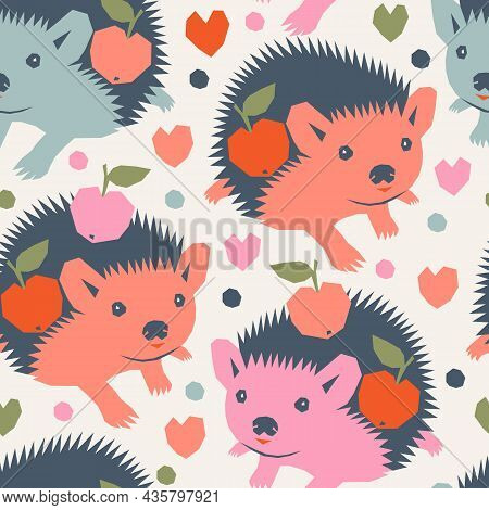 Vector Seamless Pattern With Cute Funny Hedgehogs Carrying Apples