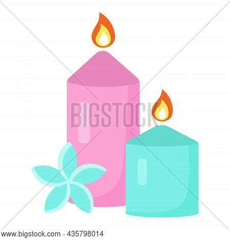 Spa And Relax Candles With Exotic Flower. Meditation, Aromatherapy And Relaxation Concept. Vector Il