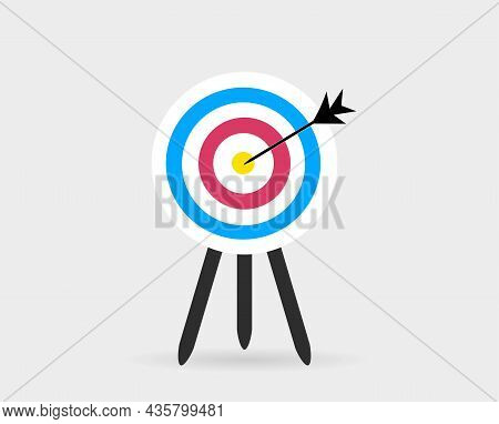 Target Vector Icon. Focus Accuracy. Aim With A Dart At The Point Of Impact In The Center. Shot From