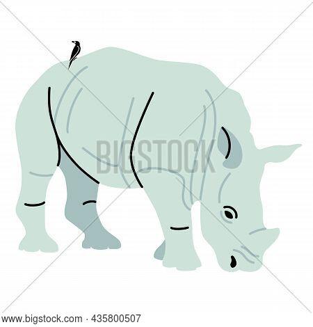 African Rhino Illustration Rhinoceros With A Sitting Bird