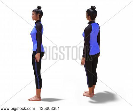 3d Illustration Of Back Three-quarters And Left Profile Poses Of A 3d Woman With Sport Outfit In Yog