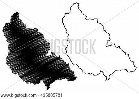Kishtwar District (jammu And Kashmir Union Territory, Republic Of India) Map Vector Illustration, Sc