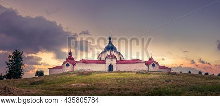 Zdar Nad Sazavou, Czech Republic - 07 14 2021: Pilgrimage Church Of Saint John Of Nepomuk At Zelena