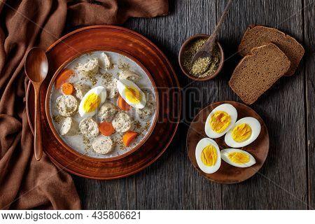 Zurek Polish Fermented Rye Soup With Traditional Polish White Kielbasa Or Sausage With Marjoram, Har