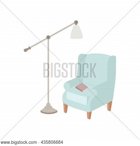 Armchair With A Floor Lamp And A Book, The Concept Of Coziness And Comfort, Vector .