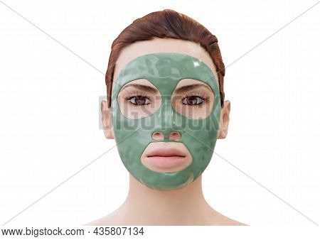 Woman Relaxing With Mud Facial Mask Isolated On White Background. 3d Rendering