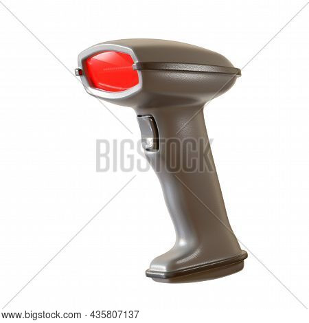 Manual Scanner Bar Code Reader Isolated On White Background. 3d Rendering