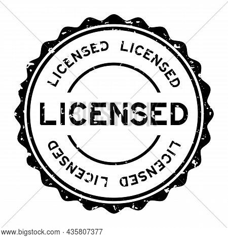 Grunge Black Licensed Word Round Rubber Seal Stamp On White Background