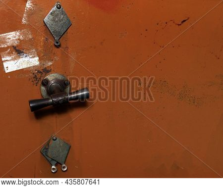 Rusted Blue Brown Door Of A Vault Or Safe. Copy Space