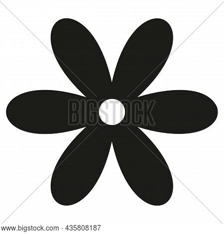 Flower, Black Outline Isolated On White Background, Radial Design Element, Flat Illustration, Icon