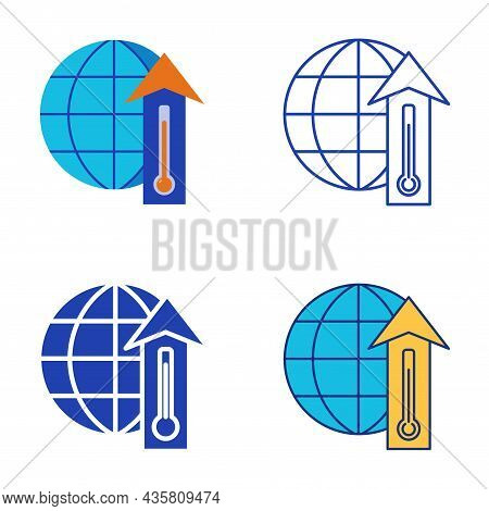 Global Warming Icon Set In Flat And Line Style