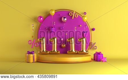 11.11 Shopping Day Sale Display Podium Decoration Background With Balloon Gift Box Percent, 3d Rende