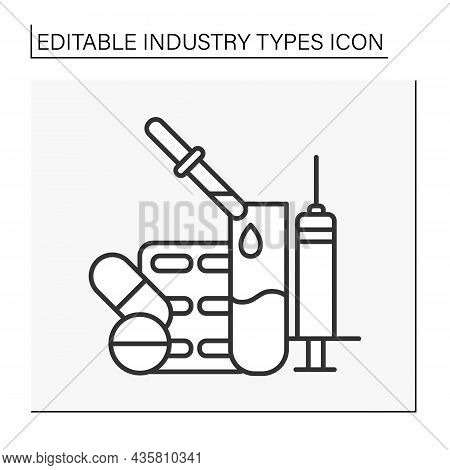 Pharmaceutical Industry Line Icon. Research, Mass Production Development And Distribution Of Medicin