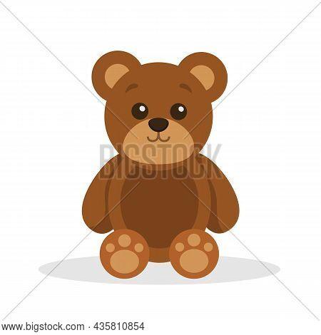 Teddy Bear Toy Isolated On White Background. Cute Cartoon Teddy Bear. Vector Stock