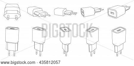 Vector Phone Charger With Usb Port, Outline Illustration Of Different Perspective Views