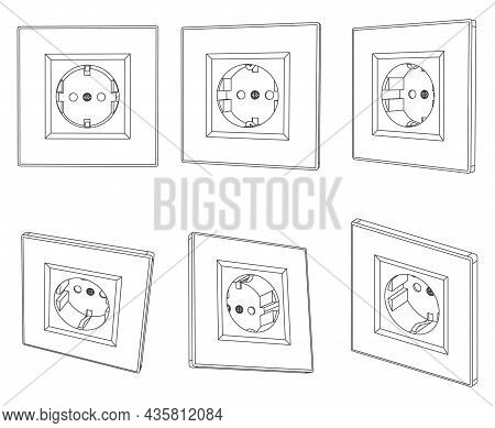 Vector Wall Socket Outline Illustration, Different Views