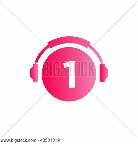 Headphone Template On 1 Letter. Letter 1 Music Logo Design. Dj Music And Podcast Logo Design Headpho