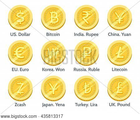 Gold Currency Coins. Country And Crypto Golden Coin Set, 3d Bitcoin Euro Dollar Ruble Yuan Yellow Fi