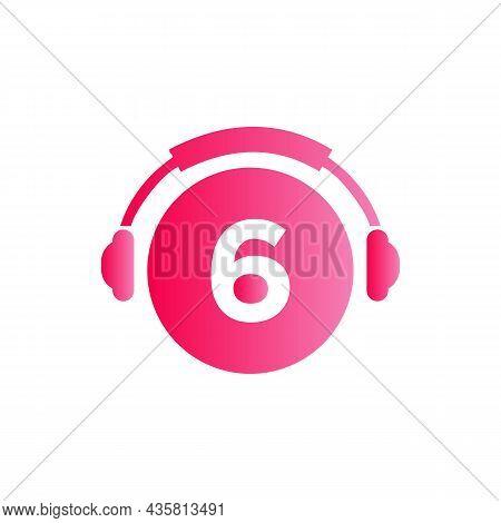 Headphone Template On 6 Letter. Letter 6 Music Logo Design. Dj Music And Podcast Logo Design Headpho