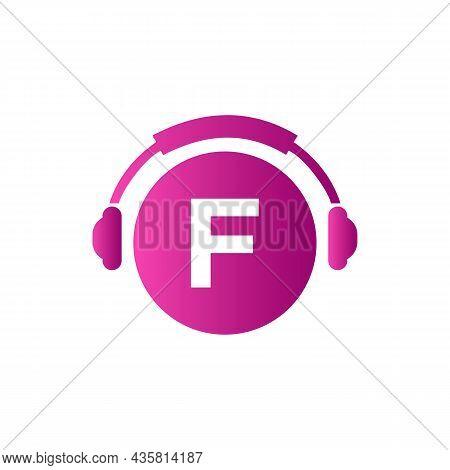 Headphone Template On F Letter. Letter F Music Logo Design. Dj Music And Podcast Logo Design Headpho