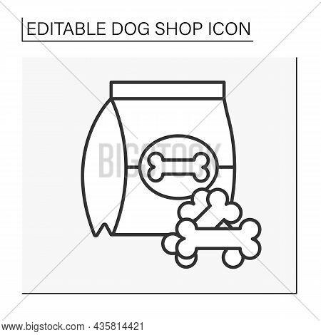 Snacks Line Icon. Tasty Food For Dogs. Award For Discipline. Crispy Bones In Packing.shop Concept. I