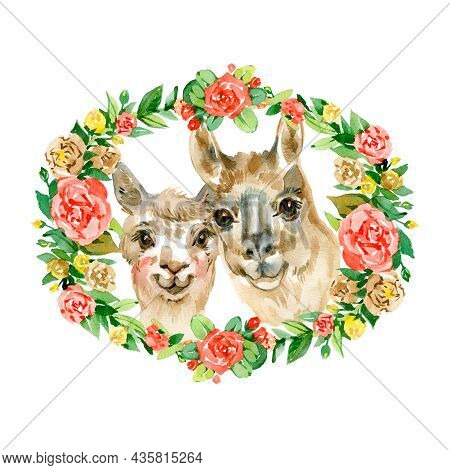 Watercolor Hand Draw Illustration With Cute Alpaca Lama Couple And Green And Blue Heart And Flowers