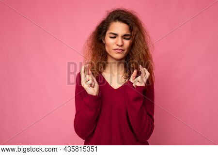 Photo Of Young Emotional Attractive Brunette Curly Woman With Sincere Emotions Wearing Trendy Pink S