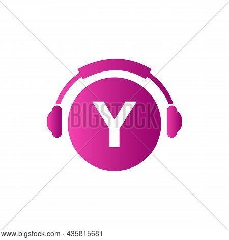 Headphone Template On Y Letter. Letter Y Music Logo Design. Dj Music And Podcast Logo Design Headpho