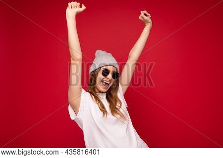 Photo Of Young Emotional Positive Happy Attractive Dark Blonde Woman With Sincere Emotions Wearing C