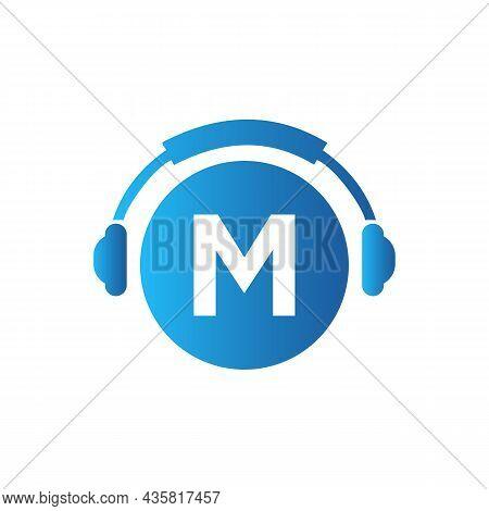 Headphone Template On M Letter. Letter M Music Logo Design. Dj Music And Podcast Logo Design Headpho
