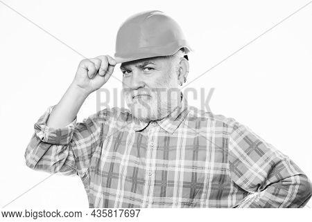 Experienced Engineer. Repairing Or Renovating. Home Improvement. Man Bearded Engineer Wear Helmet. R