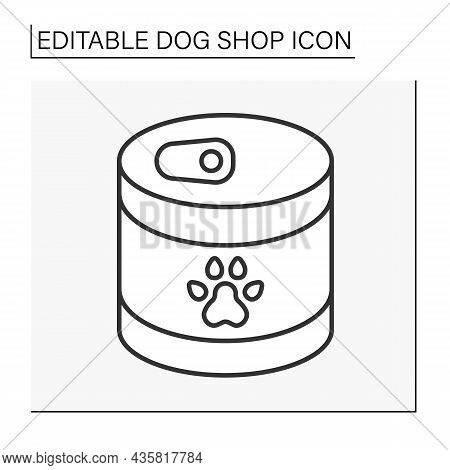Snacks Line Icon. Tasty Wet Food For Dogs In A Steel Jar. Crispy Food.shop Concept. Isolated Vector