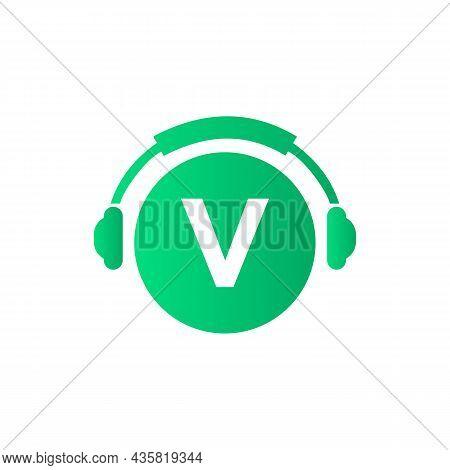 Headphone Template On V Letter. Letter V Music Logo Design. Dj Music And Podcast Logo Design Headpho