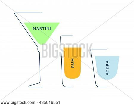 Martini, Rum And Vodka Glass In Minimalist Linear Style On White Backdrop. Contour Of Glassware On L