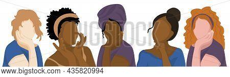 Women Of Different Nationalities. Multi-ethnic Beauty. Vector Illustration