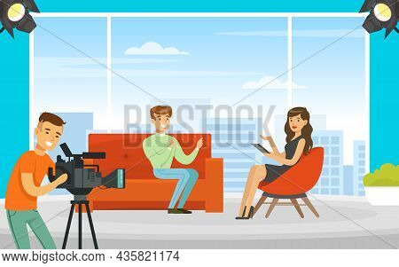 Woman Tv Reporter Speaking With Man Guest At Show Programme On Television Vector Illustration