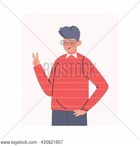 Young Smiling Man Making Positive Hand Gesture Posing For Photo Vector Illustration