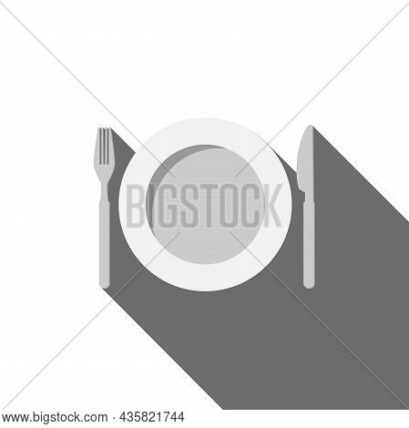 Cutlery And Plate With Drop Shadow On White Background, Vector Illustration