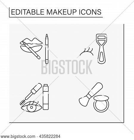 Makeup Line Icons Set. Lip Liner, Mascara, Blush And False Lush Curler. Beauty Salon. Cosmetology Co