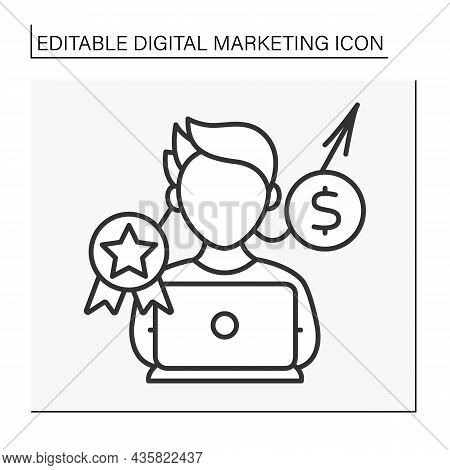 Expert Line Icon. Campaigns For Creating And Publishing Written And Visual Content.digital Marketing