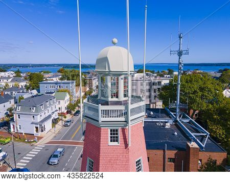 Portland Observatory Aerial View At 138 Congress Street On Munjoy Hill In Portland, Maine Me, Usa. T