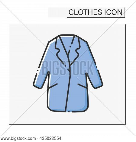 Fashion Color Icon. Comfortable Warm Winter Coat. Outerwear. Clothes Concept. Isolated Vector Illust