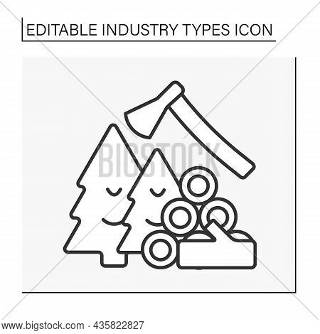 Timber Industry Line Icon. Wood Or Lumber Industry. Forestry, Logging, Timber Trade, And Production
