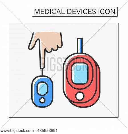 Instrument Color Icon. Blood Sugar Or Glucose Test. Analysing Human Blood. Medical Devices Concept.