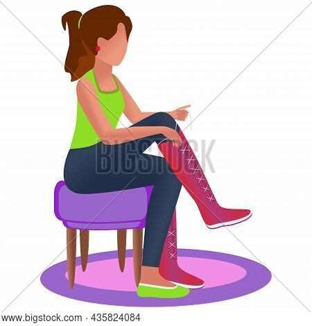 The Girl Tries On Shoes. White Background. Shoe Store Concept. Delivery, Online, Trying On The Goods