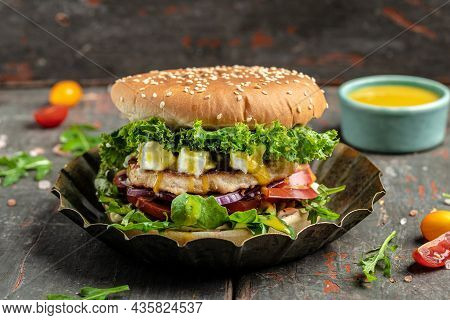 Tasty Burger Fast Food Hamburger With Beef Chicken And Feta Cheese, American Food. Fast Food, Banner