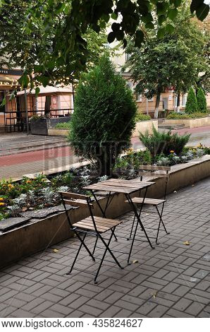 Table And Chairs In A City Cafe. Street Cafe. September 02, 2021, Orel, Russia.
